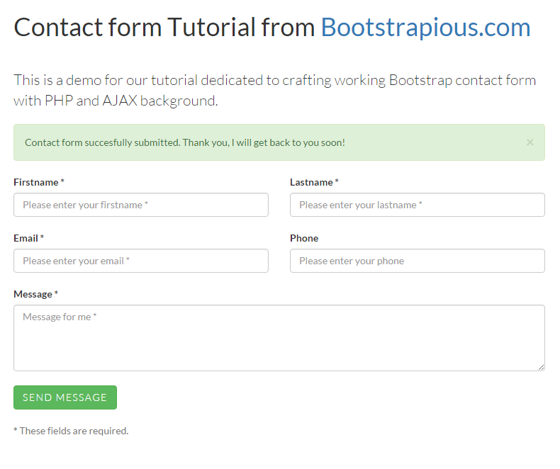Contact Form in Bootstrap